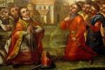 fragment obrazu Ekstaza św. Pawła Pustelnika, olej na płótnie, 2 poł. XVII w.