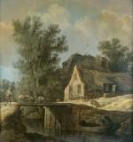 Jan van Goyen (Holandia 1596-1656), Chałupy nad kanałem 1630, olej, płótno